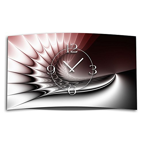 Digital Art rot Designer Wanduhr modernes Wanduhren Design leise kein ticken DIXTIME 3DS-0323
