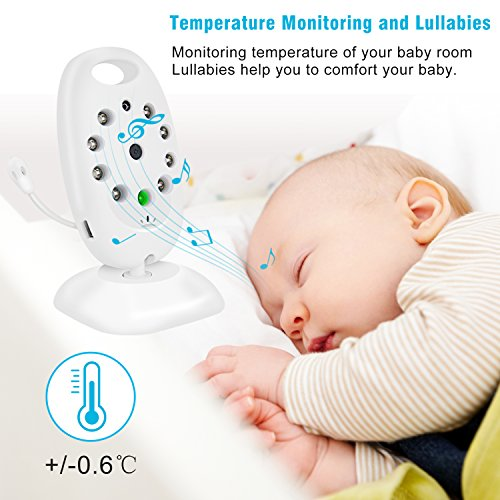 Baby Monitor,Mixmart Baby Video with Camera 2-Way Talk Back Audio and LCD Screen Night Vision,Temp Sensor Digital Video,Babyphone,Nanny,Pets Surveillance for Home Security System  mixmart