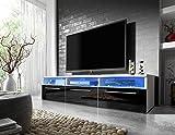 Meubles De Salon Best Deals - Meuble TV LAVELLO avec LED/ Cabinet pour la TV/ (blanc/ fronts noir brillant)