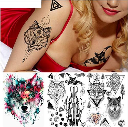 ruofengpuzi Circuit Tree Fox Wolf Tattoo Temporäre Körperkunst Männer Frau Tattoo Aufkleber Wasserdicht Bier Dreieck Blume Tattoo Aufkleber