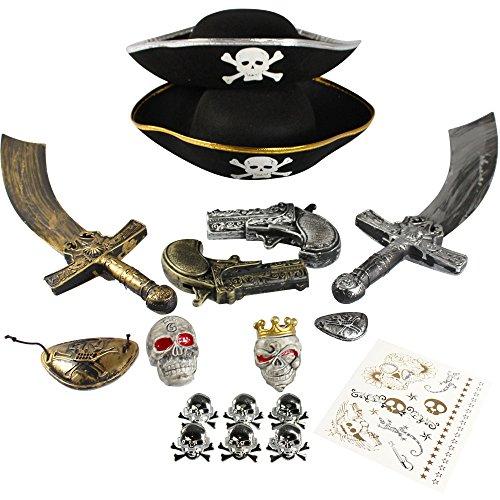COM-FOUR Zubehör-Set II. für Piraten-Köstüme - Ideal für Karneval, Motto-Partys und Kostümveranstaltungen (17-teilig - für 2 (Set Piraten)