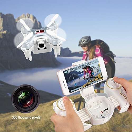 Cheerson CX-10WD-TX Fernbedienung 4CH 2,4 GHz 6-Achsen-Gyro FPV Wifi Drohne Quadcopter mit HD-Kamera High Hold-Modus, grau - 5