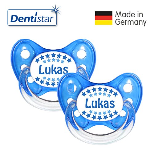 Preisvergleich Produktbild Dentistar® Schnuller 2er Set- Nuckel Silikon in Größe 2, 6-14 Monate - zahnfreundlich & kiefergerecht - Beruhigungssauger für Babys - Lukas