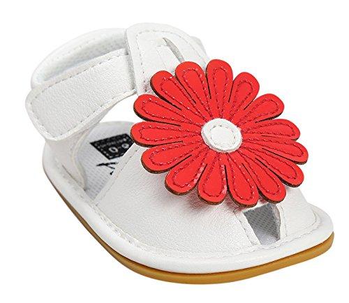 Happy Cherry Baby Mädchen Sandalen Sommer Kids Schuhe PU Leder 11cm Innenlänge Lauflernschuhe Rutschfest Weiche Sohle Krabbelschuhe Babyschuhe mit Blumen (Farbe Größe wählbar) Rot