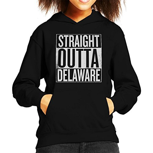 White Text Straight Outta Delaware US States Kid's Hooded Sweatshirt (Klassischen Sweatshirt Delaware)
