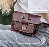 Real leather brown mini messenger satchel for women in dark brown