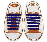 No Tie Shoelaces Schnürsenkel für Kinder Wasserdichte Silikon flache elastische Sportlauf für Sneaker Stiefel Brettschuhe und Freizeitschuhe Blau