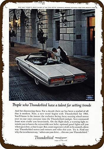 "1964 Ford Thunderbird Convertible Car Vintage Look Replica Metal Sign 7"" x 10"""