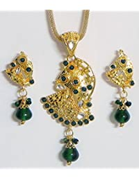 DollsofIndia Gold Plated Pendant With Chain And Earrings - Stone And Metal (FL11-mod) - Golden, Green