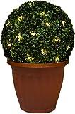 Buchsbaumkugel, künstlich, 28 cm, mit 20 solarbetriebenen LED Lichtern
