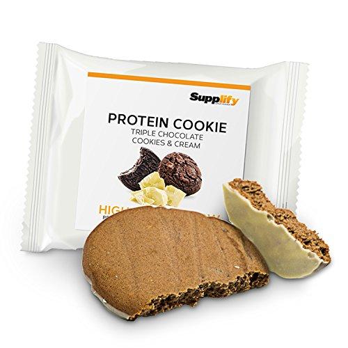 Protein Snack Cookie Protein Riegel Triple Chocolate Cookies & Cream von Supplify mit Whey Pulver – Proteinriegel als Mahlzeitenersatz für Protein Shake – Energieriegel für Muskelaufbau und Abnehmen (Protein-mahlzeit)
