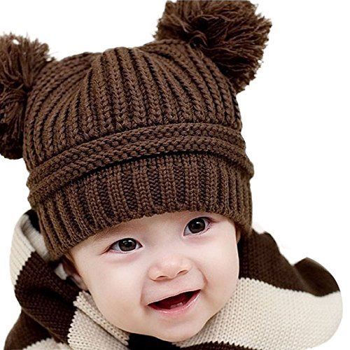 LuckyGirls Strickmütze Baby Mädchen Jungen Doppelball Winter Beanie mütze (Braun)