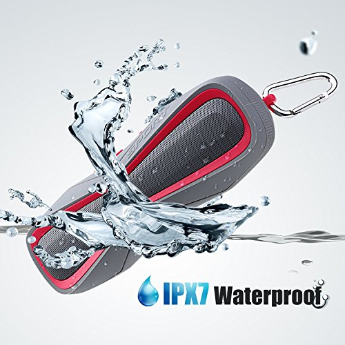Altavoces Portátiles Altavoz Bluetooth Altavoz Inalambrico Reproductor Portátil 4.1 6W Micrófono Incorporado IPX7 a Prueba de Agua 3.5mm AUX & 8 Horas Continuas de Reproducción Altavoz Portátil para Ducha, Piscina, Playa y Lago Compatible con iPhone, Android y iPod, Color Rojo