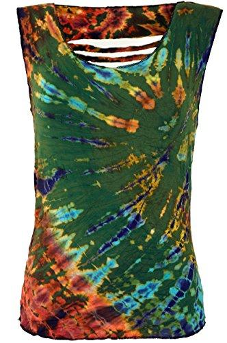 Guru-Shop Batik-Top, Tie Dye Cut Top, Damen, Olive, Viskose, Size:38, Tops, T-Shirts, Shirts Alternative Bekleidung -