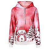 Auifor Frauen-Weihnachtsschneemann-Druck mit Kapuze Tasche Langarm-Pullover