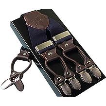 AHATECH Hombres Elásticos Tirantes Y-Forma con 6 Clips con Patrones adjustable