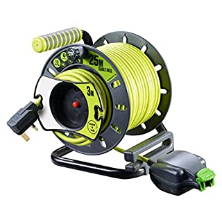 Masterplug OMU2513FL3IP-PX Pro-XT Weatherproof IP54 1 Socket 25 meter + 3M Reverse cable Reel with Pull Out Socket