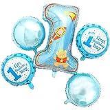 MagiDeal 5pcs / Set Globos de Película de Aluminio para Fiesta de Cumpleaños de 1 Año de Niños Accesorio de Fiesta de Bienvenida al Bebé - Azul