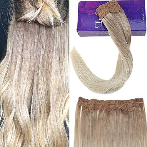 Laavoo 16 pollici brazilian halo hair extension biondo cenere ombre bionda platino pezzi di capelli umani per le donne 11