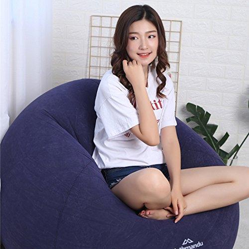 Sandgyrr poltrone sacco lazy sofa floccaggio letto gonfiabile poltrona per il tempo libero portatile gonfiabile letto sacco a pelo all'aperto pieghevole, blu scuro, 110 * 110 * 85cm