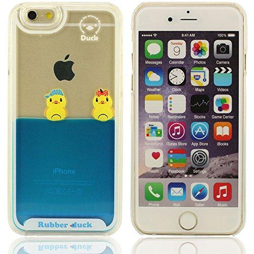 Canard 3D Différentes couleurs fluides plastique liquide silicone souple Housse Coque de protection pour Apple iPhone 6 4.7 inch(trois canard) Bleu