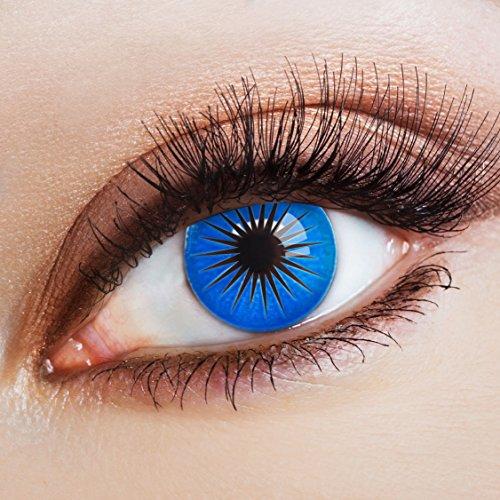 aricona Farblinsen Manga & Anime Kontaktlinse Blue Star   – Deckende, farbige Jahreslinsen für dunkle und helle Augenfarben ohne Stärke, Farblinsen für Cosplay, Karneval, Fasching, Halloween (Kostüm Uchiha Sarada)