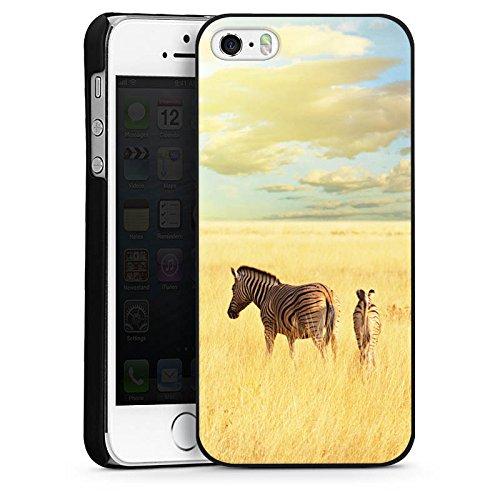Apple iPhone 5s Housse Étui Protection Coque Zèbre Afrique Steppe CasDur noir
