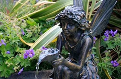 Small Solar Powered Water Feature Fairy on a Clam Shell Waterfall with LED Lights PC123