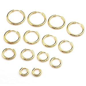 Zysta Piercingschmuck 18G 18mm-20mm Herren Damen Edelstahl Hoop Creolen Hinged Huggie Helix Tragus Ohrring Ohrpiercing Silber Gold Schwarz