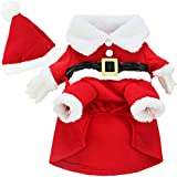 YiZYiF Pet Dog Cat Santa Claus Christmas Gift Fancy Dress Costume Outfit Clothes Medium