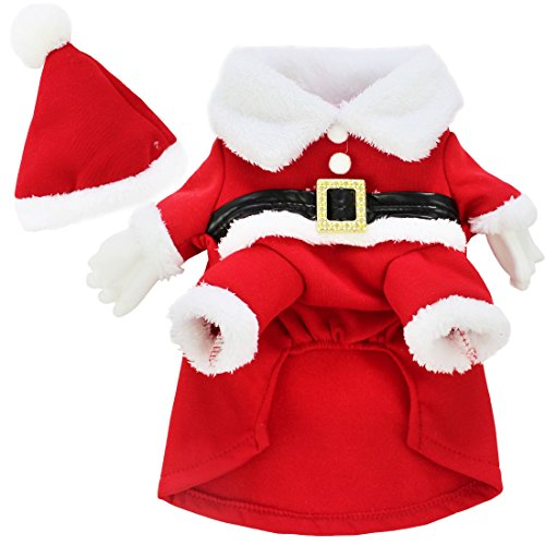 YiZYiF Pet Dog Cat Santa Claus Christmas Gift Fancy Dress Costume Outfit Clothes