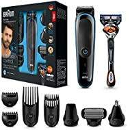 Braun Multi Grooming Kit Mgk3085 Black/Blue - 9-in-1 Precision Trimmer for Beard and Hair Styling with Gillette Fusion Proglide Razor