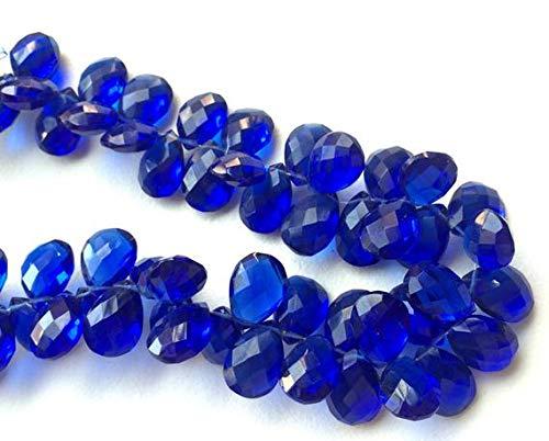 LOVEKUSH BEADS GEMSTONE 1 Strand Natural Blue Mystic Quartz, Hydro Cobalt Blue Color, Faceted Pear Beads, Blue Hydro Necklace, 7x10mm Each, 4 Inch Code-RR-16887 Cobalt Blue Plain