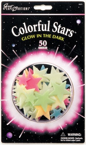 university-games-29008-pack-de-estrellas-luminiscentes-decorativas-de-colores