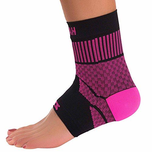 Zensah Compression Knöchelbandage Sleeve-bietet Unterstützung und Schmerzlinderung für Verstauchungen, Zerrungen, Arthritis, ideal für Running, Sport, Basketball, Athleten, Unisex, neon pink -