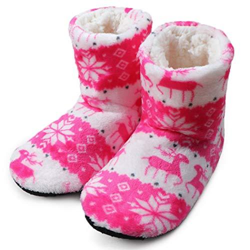 Zapatillas mullidas de Invierno Botas de casa Zapatillas de Interior con Peluche Calientes Zapatillas de Navidad Calcetines Largos