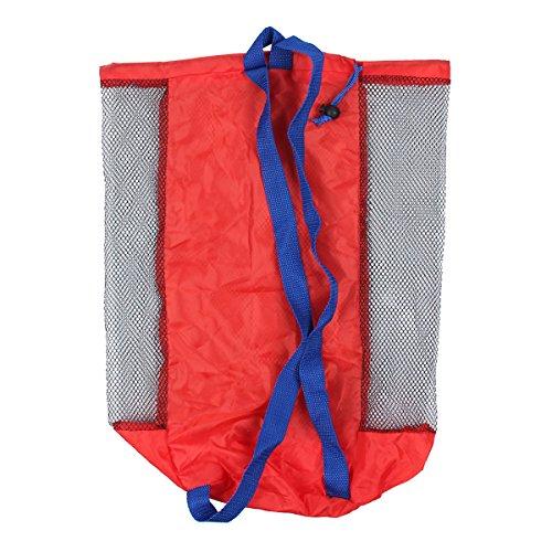 Latinaric 1pc Sand Strand Tasche Netztasche Sandspielzeug Aufbewahrungstasche für Kinder Rot