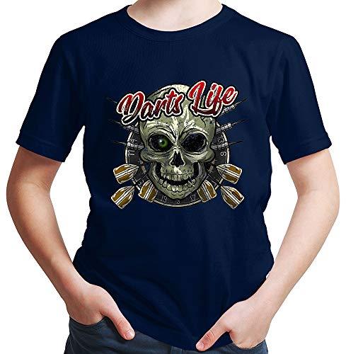 HARIZ  Jungen T-Shirt Darts Life Totenkopf Dart Darten Dartpfeile Sport Fun Trikot Plus Geschenkkarte Deep Navy Blau 152/12-13 Jahre