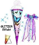 Unbekannt mit 3-D Glitzer Effekt ! - Schultüte -  Bunte Schmetterlinge  - 85 cm - 6 eckig - incl. große Schleife - Glimmer / Rüschen & Organza Abschluß - Zuckertüte R..