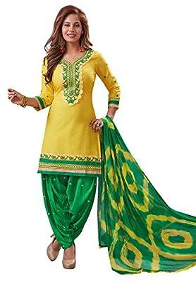 S Salwar Studio Women's Yellow & Green Cotton Embroidered Unstitch Patiyala Suit(SOM-0031417_Free Size)