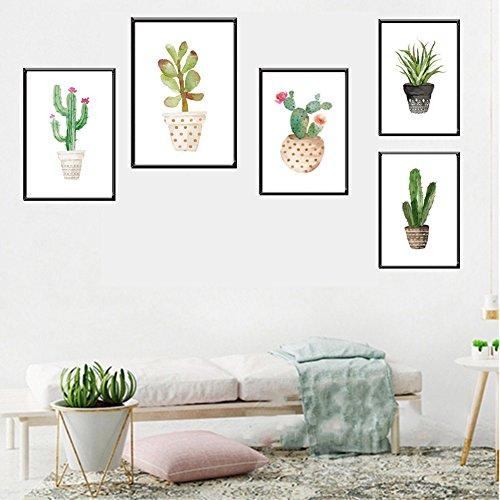 bdrsjdsb Topf Kaktus Bonsai rahmenlose Wandmalerei Wohnzimmer Home Decor 4# 21 * 30 cm