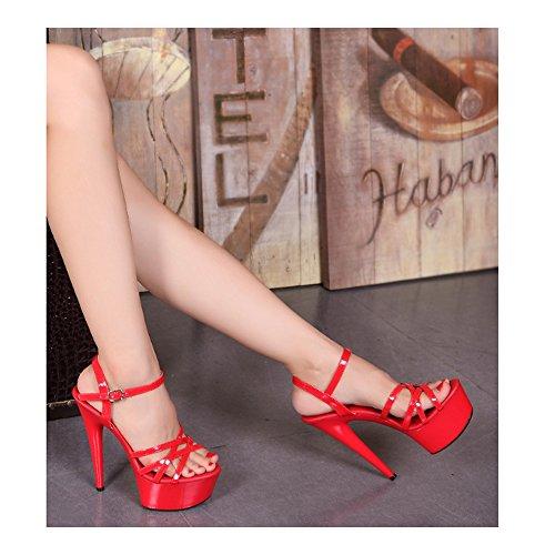 Sandales De Talon Haute Aiguille Escarpin Femmes Plateforme Epais Sexy Soirée Rouge