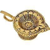 Elegant Brass AUM/OM Deepak with Handle/Akhand Oil Diyas for Puja Room