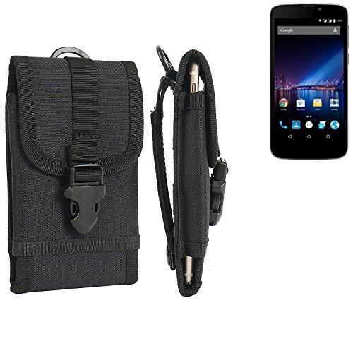K-S-Trade Handyhülle für Phicomm Clue 2S Gürteltasche Handytasche Gürtel Tasche Schutzhülle Robuste Handy Schutz Hülle Tasche Outdoor schwarz
