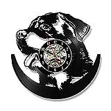 OOFAY Clock@ Wanduhr Vinyl Schallplattenuhr Vintage Familien Zimmer Dekoration- 3D Rottweiler Hund Design-Uhr Wand-Deko Schwarz/Durchmesser 30Cm,A