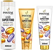 Pantene Pro-V Hair SuperFood Shampoo with Antioxidants to Strengthen Hair 400ml with 3Minute Miracle Condition