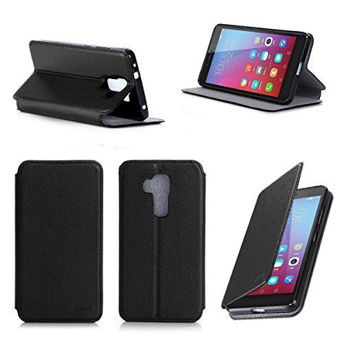 Huawei Honor 5X 4G/LTE Dual Sim 5,5 Zoll Tasche Leder Hülle schwarz Cover mit Stand - Zubehör Etui Huawei Honor 5X Flip Case Schutzhülle (PU Leder, Handytasche schwarz black) - XEPTIO accessories