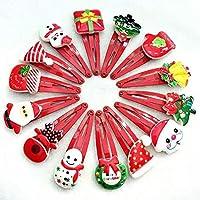 quanjucheer 10Pcs Christmas Hat Hairpin,Cute Cartoon Snowman Hair Clip Girls Xmas Gift Random Style