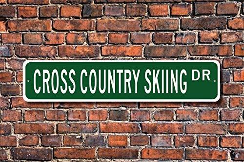 HSSS Langlauf Skifahren Langlauf Skifahren Langlauf Skifahren Fan Langlauf Geschenk Custom Straßenschild Metallschild 10,2 x 45,7 cm