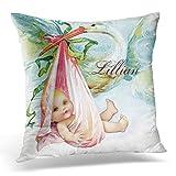 Kotdeqay Blue Vintae Vintage Pink Stork Baby Girl Nursery Teal Nirsery Decorative Pillow Case Home Decor Square 18 x 18 inch 45cm